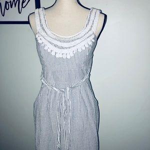 Preppy blue & white striped seersucker style dress
